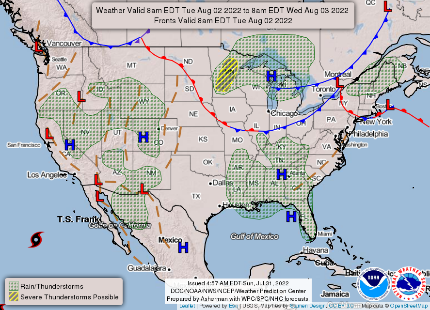 Day 3 US Weather map