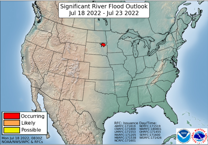 National map showing the 5-day significant flood outlook potential.