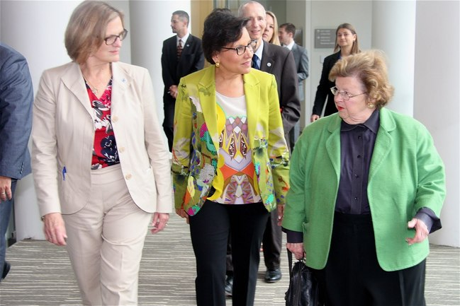 Acting NOAA Administrator Dr. Kathryn Sullivan (left), Commerce Secretary Penny Pritzker (center), and Senator Barbara Mikulski (MD) (left)             arrive at the operations area of NCWCP.