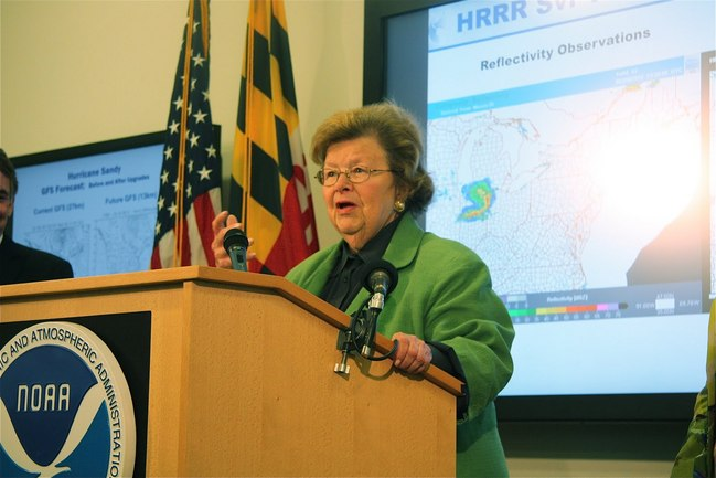 Senator Mikulski (MD) briefs the press, highlighting the partnership between government and private sector and the serious impact of weather on life, property, and the economy.