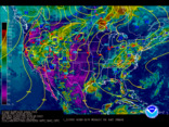 Latest United States (CONUS) surface analysis overlaid with IR satellite imagery