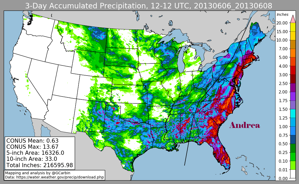 Tropical Storm Andrea (2013) Rainfall