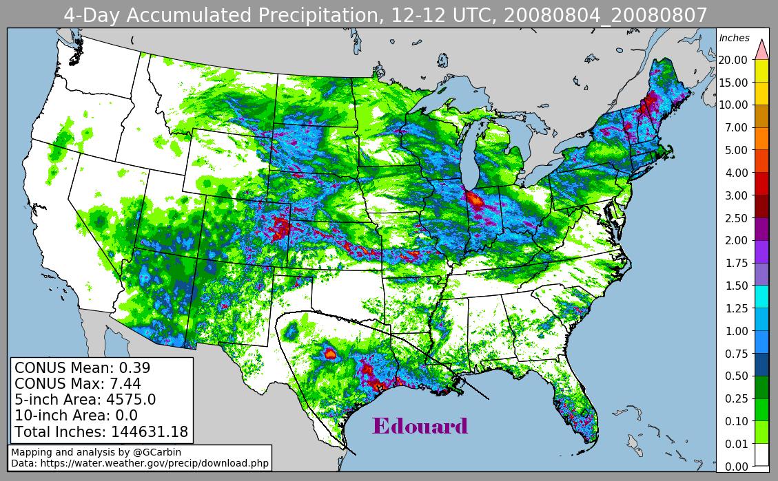Storm Total Rainfall for Edouard (2008)