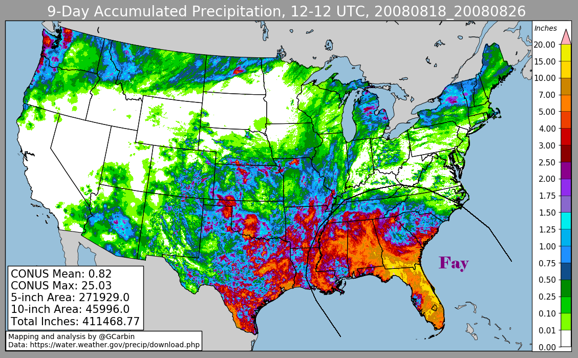 Storm Total Rainfall for Fay (2008)