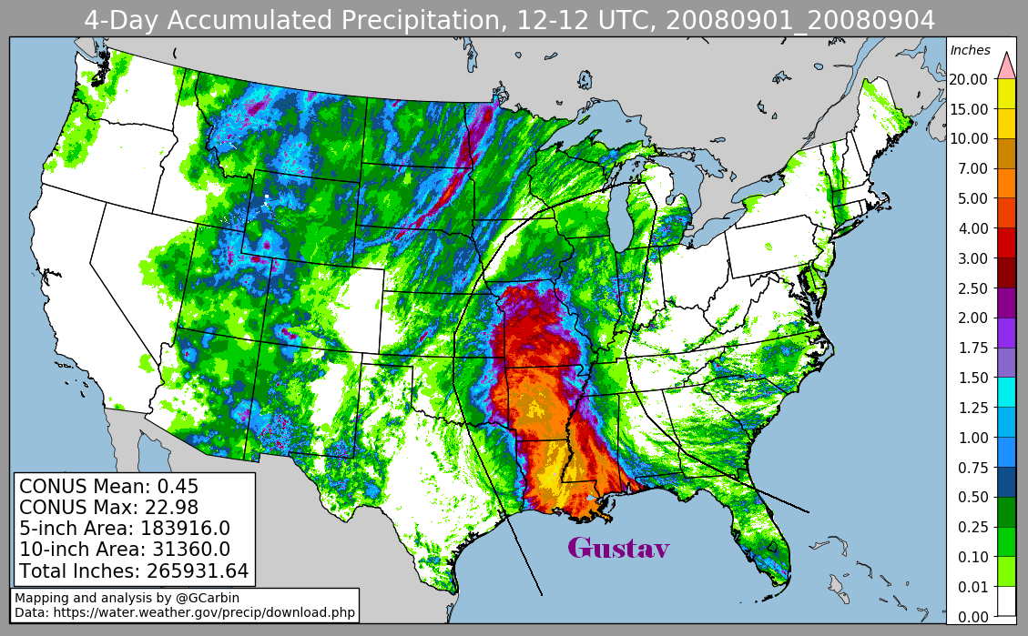 Storm Total Rainfall for Gustav (2008)