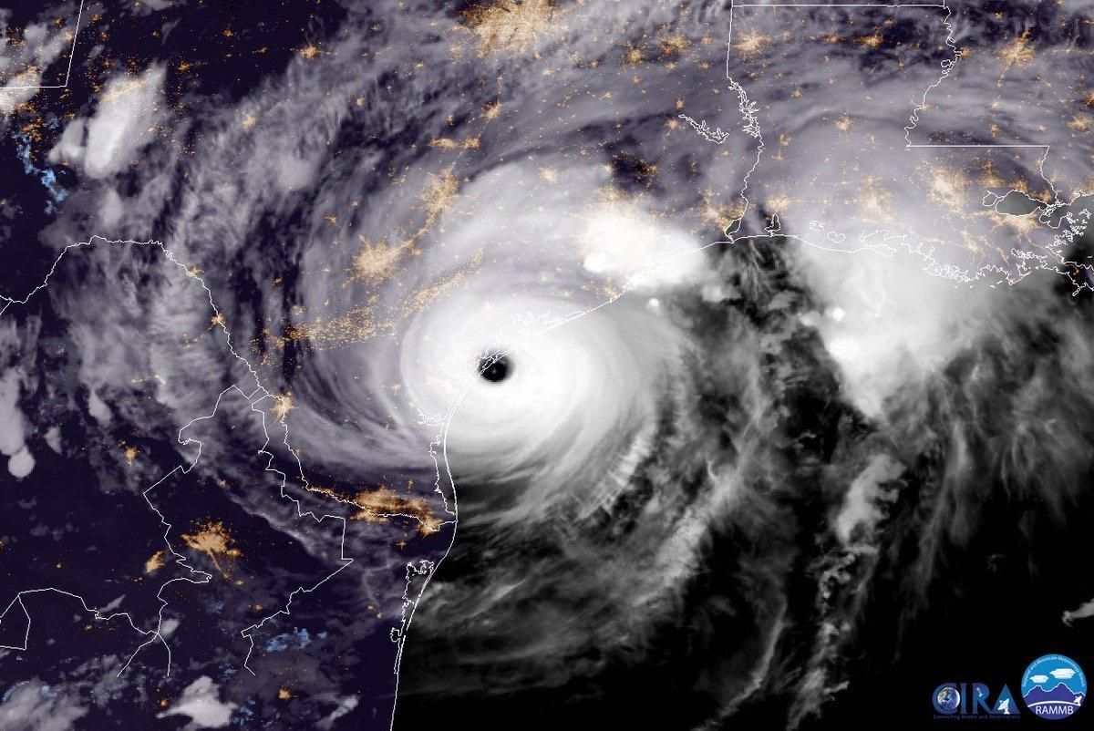 Hurricane Harvey near the time of its Texas landfall on August 25, 2017