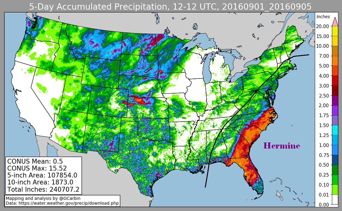 Hurricane Hermine (2016) Rainfall