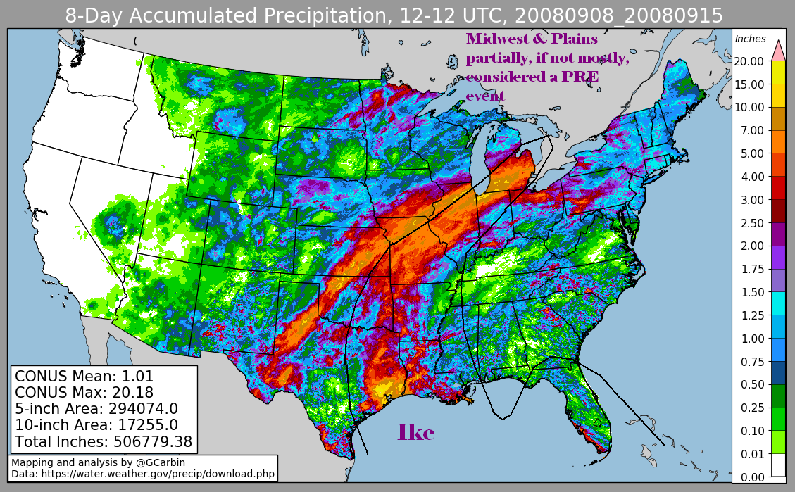 Storm Total Rainfall for Ike (2008)
