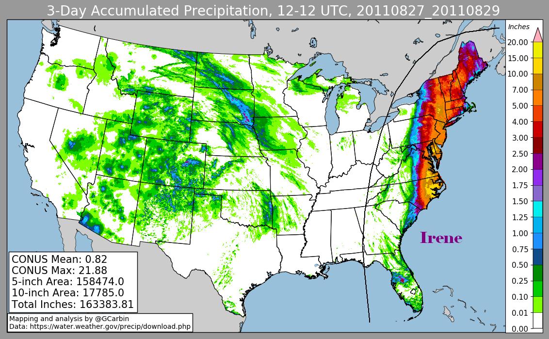 Storm Total Rainfall for Hurricane Irene (2011)