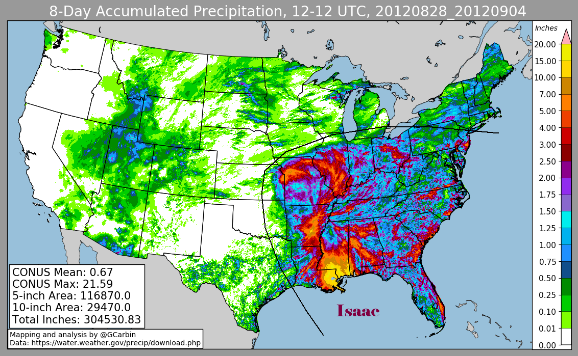Hurricane Isaac (2012) Rainfall
