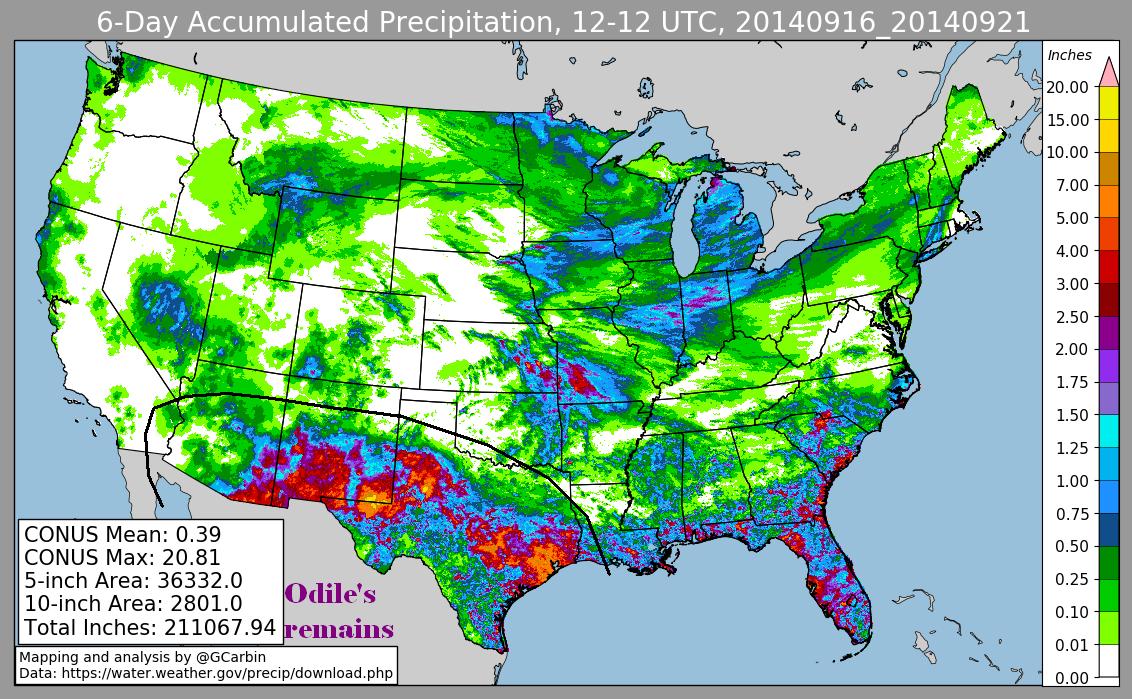 Tropical Storm Odile (2014) Rainfall
