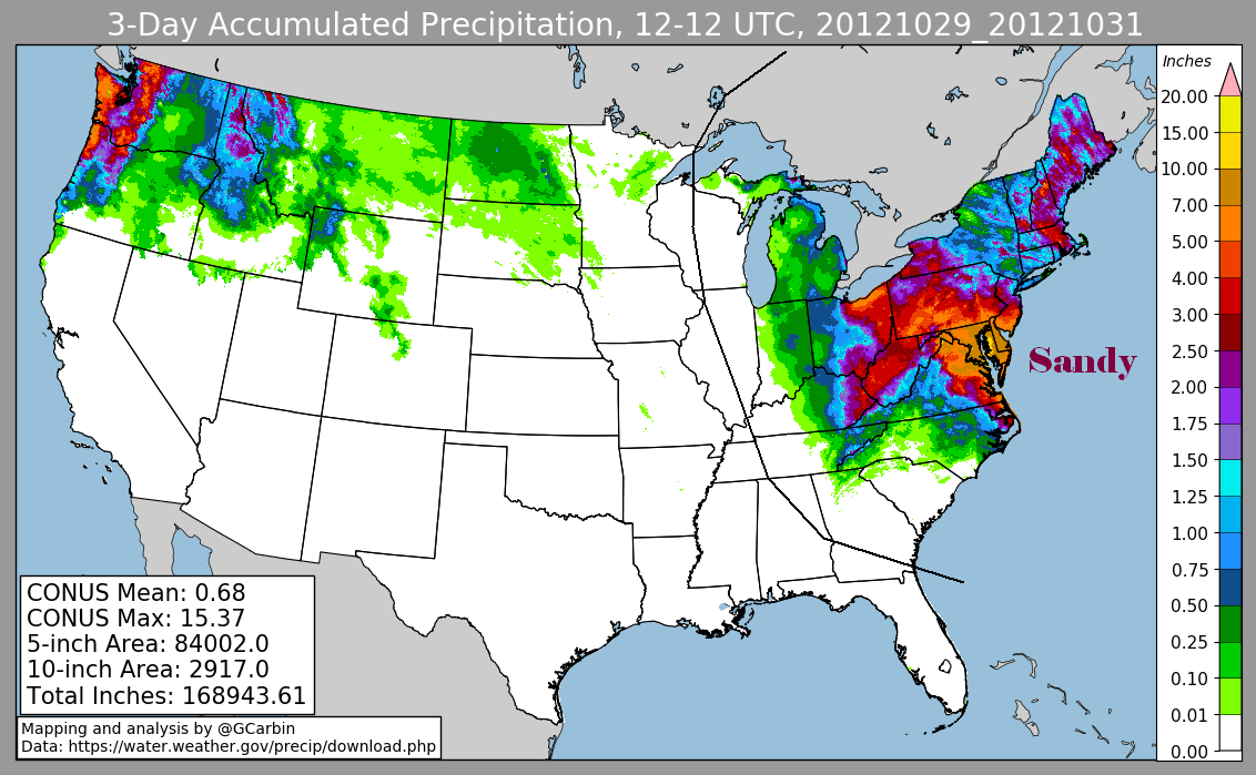 Hurricane Sandy (2012) Storm Total Rainfall