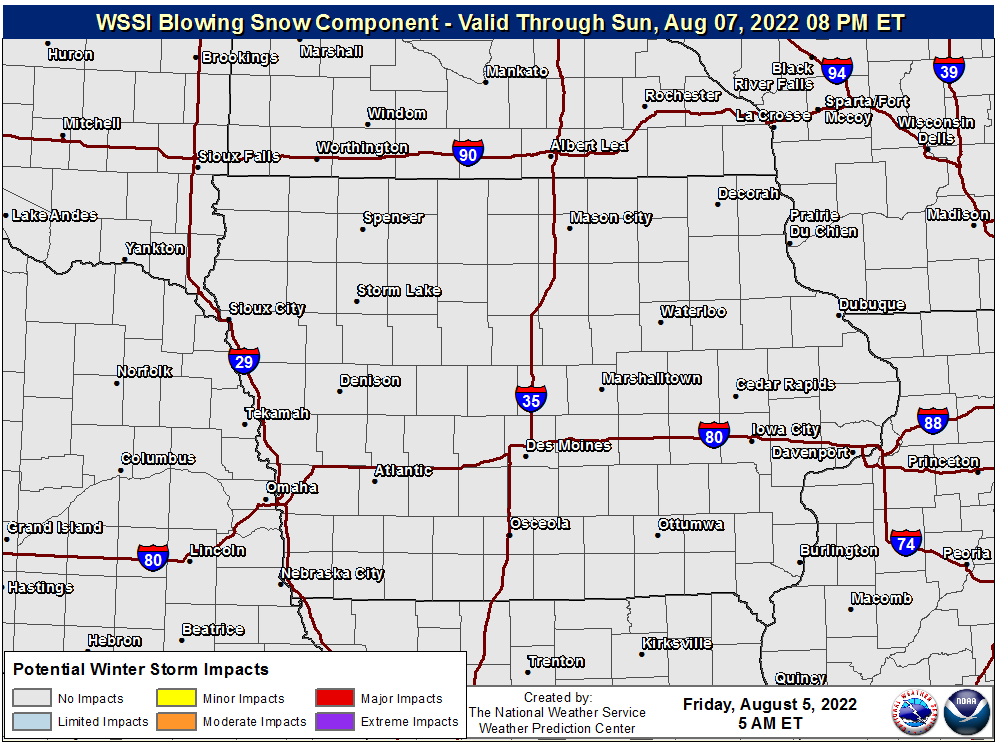 Overall blowing snow winter storm severity index